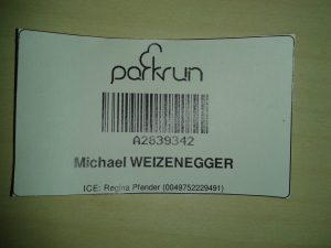 Parkrun Barcode (ICE = in case of emergency)